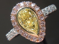 0.86ct Yellow VS1 Pear Shape Pink Lemonade™ Diamond Ring R7265