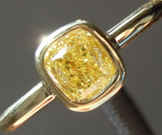 0.51ct Intense Yellow SI1 Cushion Cut Diamond Ring R7283