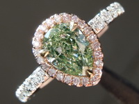 SOLD....86ct Light Yellow-Green I1 Pear Shape Diamond Ring R7138