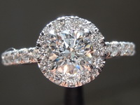 Colorless Diamond Ring: .59ct G SI1 Round Brilliant Diamond Halo Ring GIA R7341