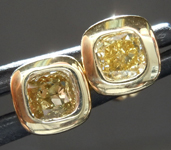 SOLD...Yellow Diamond Earrings: .62ctw Fancy Intense Brownish Yellow Cushion Cut Diamond Earrings R7389