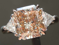 3.45ct Light Yellowish Brown SI2 Radiant Cut Diamond Ring R7474
