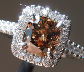 1.19ct  Brown SI1 Cushion Cut Diamond Ring R7491