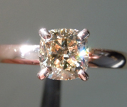 1.01ct Light Brown SI1 Cushion Cut Diamond Ring R7495