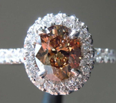 1.01ct Fancy Deep Brown SI Oval Cut Diamond Ring R7499