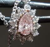 Pink Diamond Pendant: .30ct Fancy Pinkish Brown I2 Pear Shape Diamond Halo Pendant GIA R7540