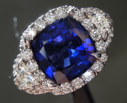 SOLD.....Sapphire Ring: 3.03ct Blue Cushion Cut Sapphire and Diamond Ring R7543