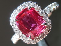 1.35ct Pink Cushion Cut Sapphire Ring R7555