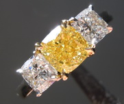 1.01ct Intense Yellow SI2 Cushion Cut Diamond Ring R7669