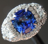 Sapphire Ring: 2.27ct Blue Cushion Cut Sapphire and Diamond Halo Ring R7691