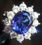 Sapphire Ring: 3.12ct Blue Cushion Cut Sapphire and Diamond Ring  R7759