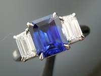 Sapphire Ring: 1.95ct Blue Emerald Cut Sapphire and Diamond Ring R7835