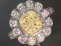 1.22ct U-V VS1 Cushion Cut Diamond Ring R7865