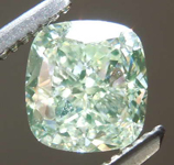 SOLD....1.22ct Light Yellow Green SI1 Cushion Cut Diamond R7889