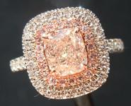 1.01ct Brown Pink SI2 Cushion Cut Diamond Ring R8036