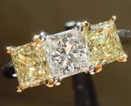 SOLD.........Diamond Ring: .75ct D SI1 Princess Cut Three Stone Diamond Ring GIA R809