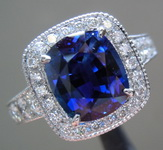 3.15ct Blue Cushion Cut Sapphire Ring R8218