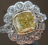 1.21ct Yellow I1 Cushion Cut Diamond Ring R8224