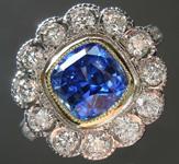 2.40ct Blue Cushion Cut Sapphire Ring R8323