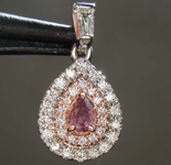 SOLD....0.15ct Intense Pink Purple Pear Diamond Pendant R8364