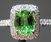 1.60ct Green Cushion Cut Tsavorite Garnet Ring R8615