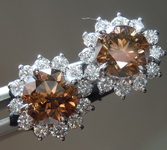 2.03ctw Brownish Orange Round Brilliant Diamond Earrings R8659