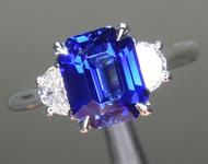 SOLD...2.02ct Blue Emerald Cut Sapphire Ring R8704