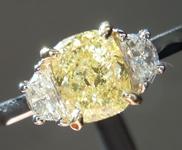 1.00ct Yellow I1 Cushion Cut Diamond Ring R8986