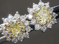 SOLD....1.08cts Yellow VS Cushion Cut Diamond Earrings R9224