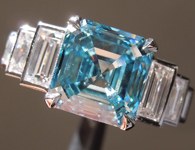 3.01ct Blue VS2 Asscher Cut Lab Grown Diamond Ring R9434