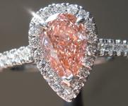 1.06ct Orangy Pink VS2 Pear Shape Lab Grown Diamond Ring R9463