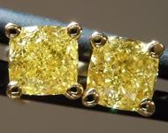 1.06ct Intense Yellow VVS2 Cushion Cut Diamond Earrings R9582