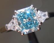 1.00ct Blue SI1 Radiant Cut Lab Grown Diamond Ring R9414