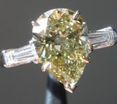 SOLD.....2.12ct Greenish Yellow SI2 Pear Shape Diamond Ring R7518