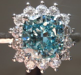 2.20ct Bluish Green SI2 Cushion Cut Lab Grown Diamond Ring R9411