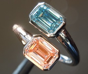 2.05ctw Blue and Pink Emerald Cut Lab Grown Diamond Ring R9432
