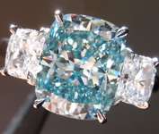 3.01ct Intense Blue VS2 Cushion Cut Lab Grown Diamond  Ring R9417