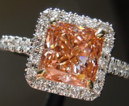 2.01ct Orangy Pink VS2 Radiant Cut Lab Grown Diamond Ring R9427