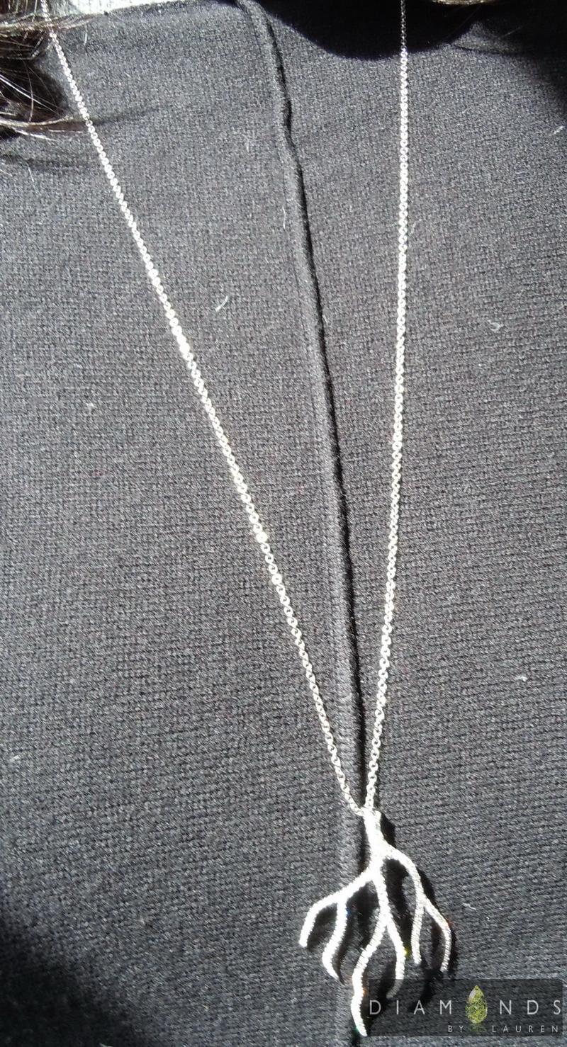 tree branch diamond pendant
