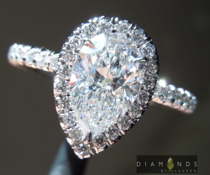 1 02ct E Si2 Pear Shape Diamond Halo Ring Gia R5305 Diamonds By