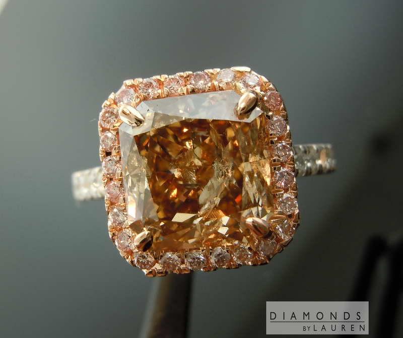 natural pink diamond halo ring