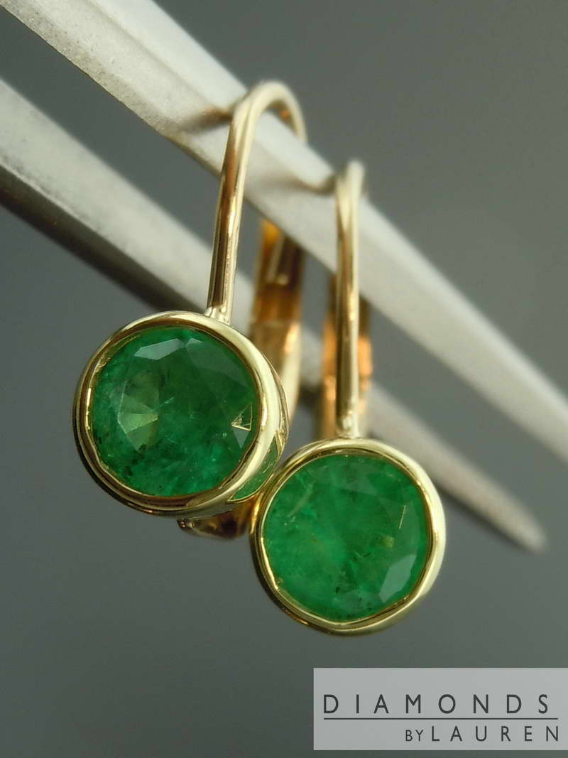 Round Emerald Earrings
