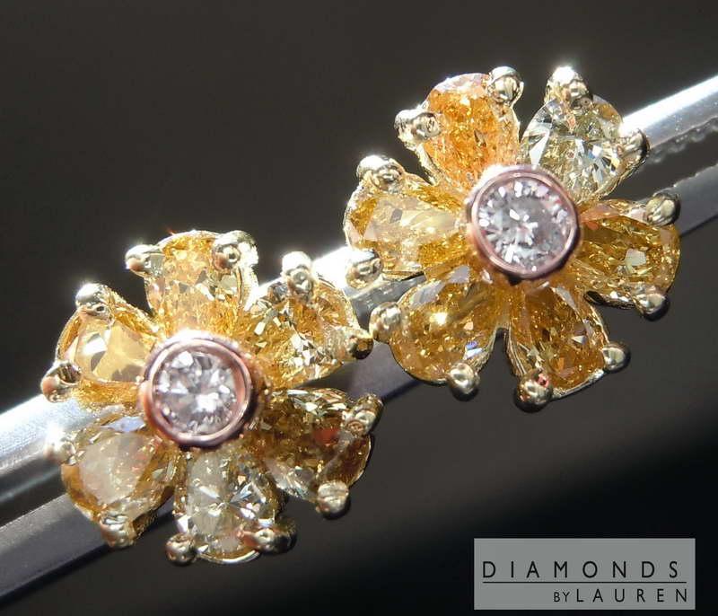 natural fancy diamond earrings