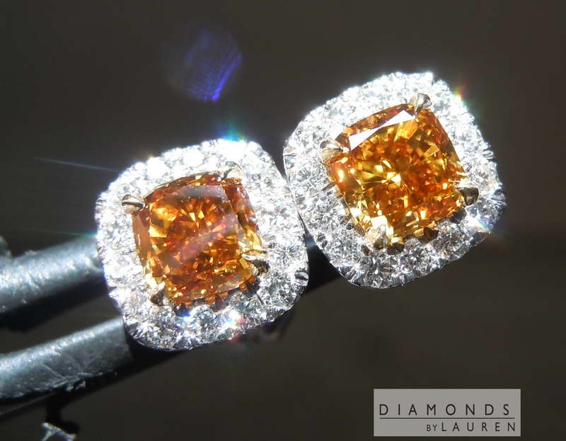 orange diamond earrings