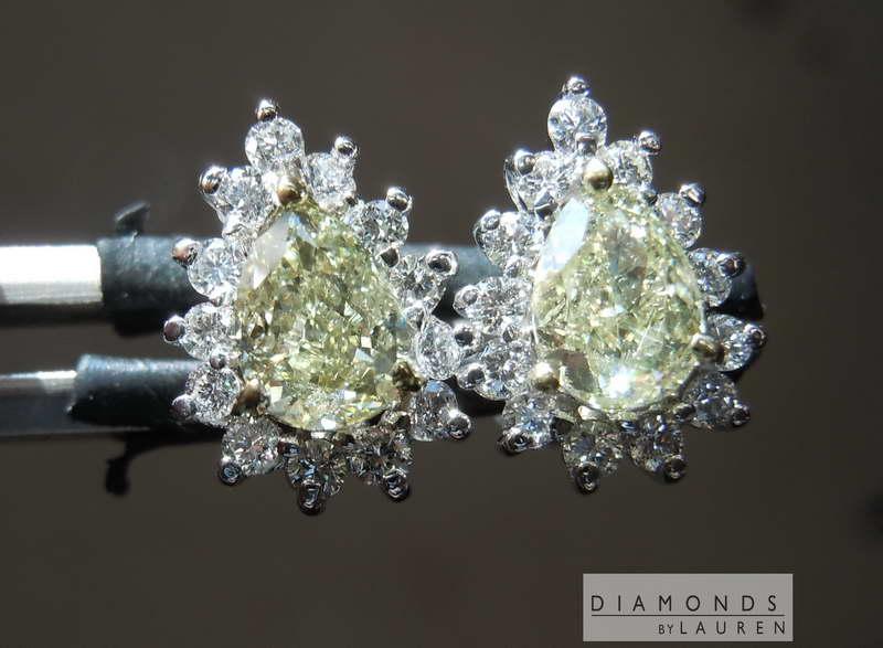 natural yellow diamond earrings