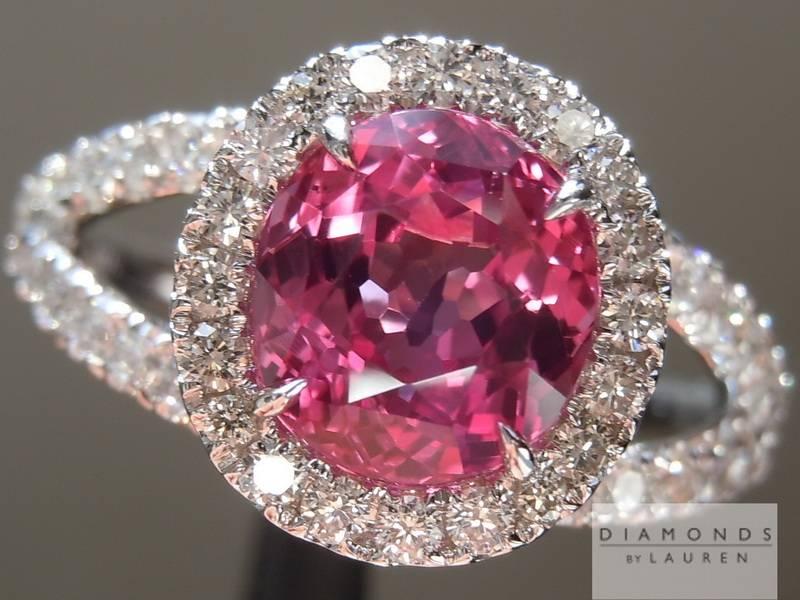 1 95ct Pink Cushion Cut Sapphire Ring