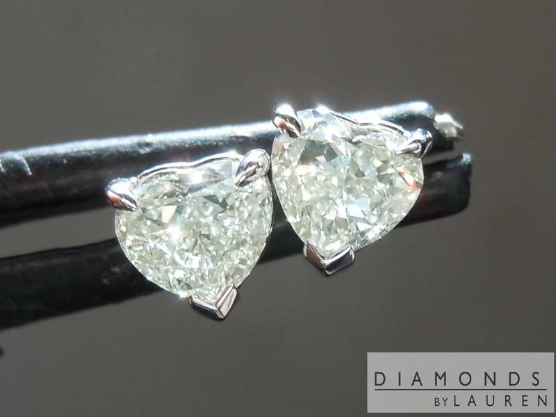 greenish diamond earrings