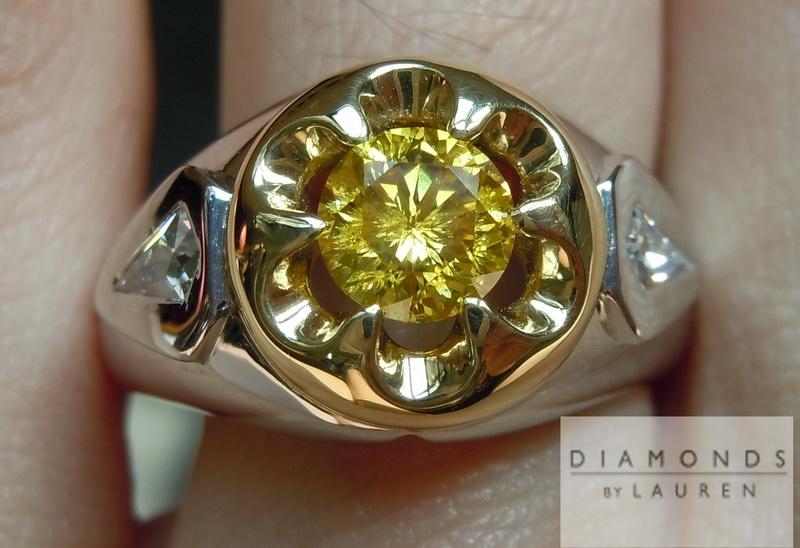 nataural yellow diamond ring
