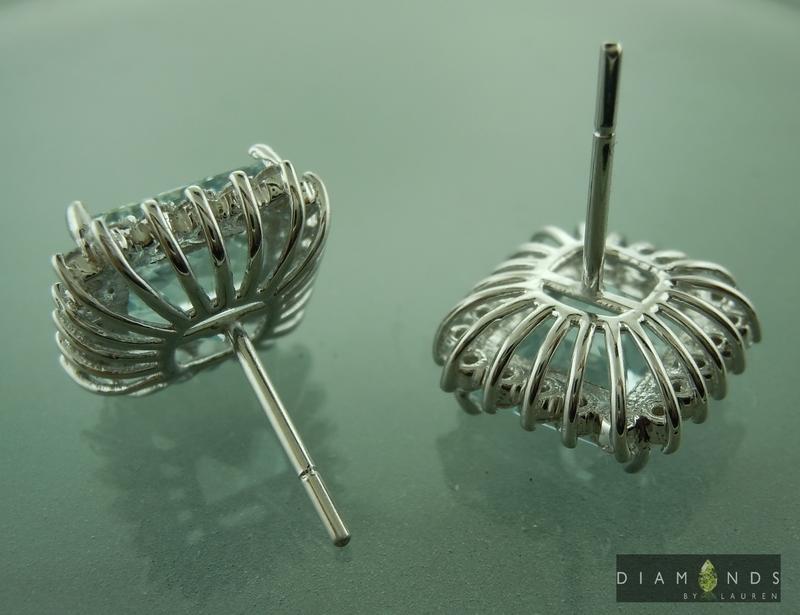 aaquamarine and diamond earrings