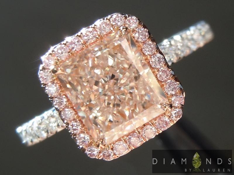 1 53ct Pink Radiant Diamond Ring